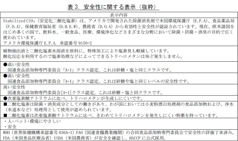 国民生活センター安全性に関する表示(抜粋)